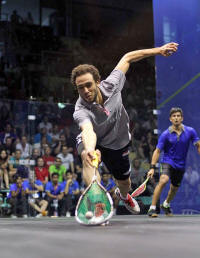 Ramy Ashour battles through against Saurav Ghosal to secure win for Egypt Click Image for Larger view